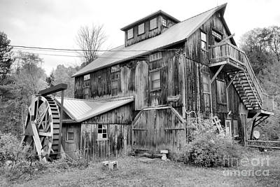 Photograph - Brewster River Grist Mill Black And White by Adam Jewell