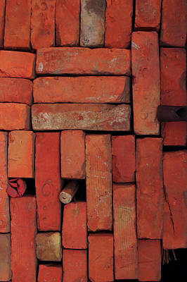 Photograph - Bricks by Attila Meszlenyi