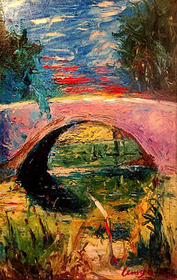 Art Print featuring the painting Bridge At City Park by Amzie Adams