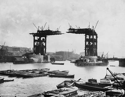 Bridge Construction Art Print by London Stereoscopic Company