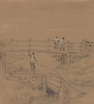Drawing - Bridge Over A Stream With Figures by Peter De Wint