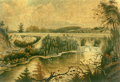 Drawing - Bridge Over The Wissahickon Creek, About 1835 by William Breton
