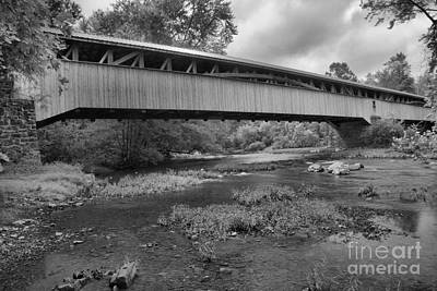 Photograph - Bridge Over Tuscarora Creek Black And White by Adam Jewell