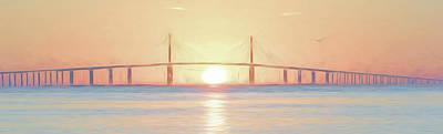 Photograph - Bridge Sunrise 28x92 by Steven Sparks