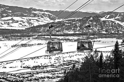 Photograph - Bridger Gondola At Jackson Hole Black And White by Adam Jewell