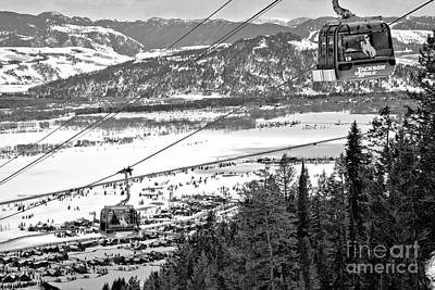 Photograph - Bridger Gondola Cable Cars Black And White by Adam Jewell