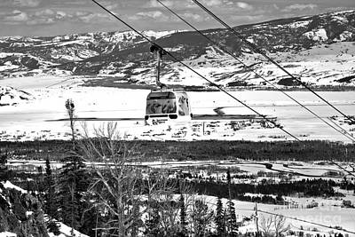 Photograph - Bridger Gondola White Car Black And White by Adam Jewell