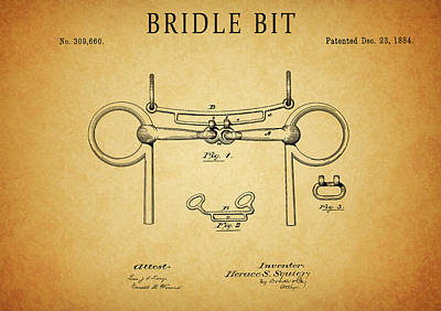 Drawing - Bridle Bit Patent by Dan Sproul