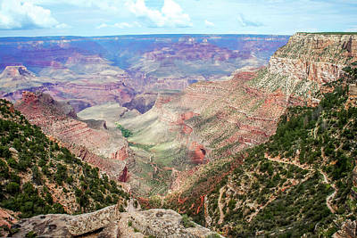Photograph - Bright Angel Trail Overlooking Indian Gardens And Beyond by Dawn Richards