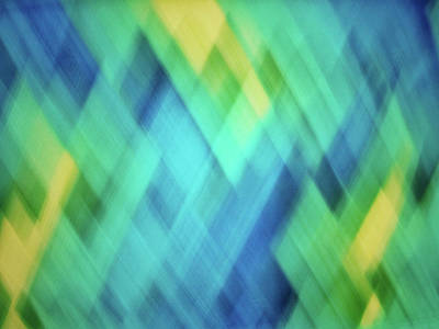 Photograph - Bright Blue, Turquoise, Green And Yellow Blurred Diamond Pattern Abstract by Teri Virbickis