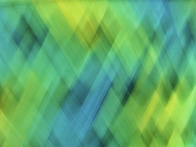 Royalty-Free and Rights-Managed Images - Bright blue, turquoise, green and yellow blurred diamond shapes and lines abstract  by Teri Virbickis