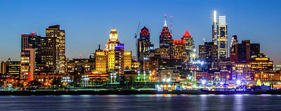Photograph - Bright City Lights On The River - Philadelphia by Bill Cannon