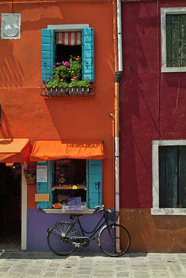 Photograph - Bright Colors And Lone Bicycle  In by Dakin Roy