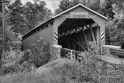 Photograph - Bright Red Flickinger's Covered Bridge Black And White by Adam Jewell
