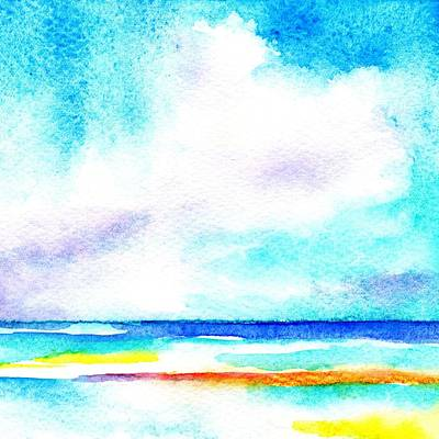 Painting - Bright Summer Day At The Beach by CarlinArt Watercolor