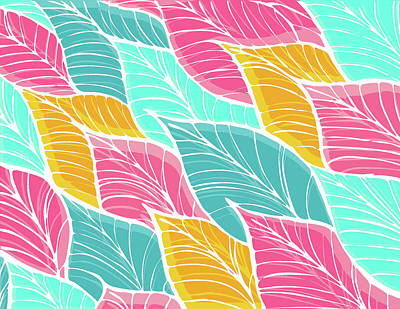 Kristian Gallagher Royalty-Free and Rights-Managed Images - Bright Tropical Leaf Pattern by Kristian Gallagher