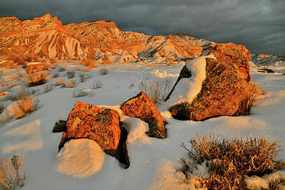 Photograph - Brilliant Sunset Light On Book Cliffs by Ray Mathis