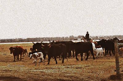 Digital Art - Bringing In The Cows by Kae Cheatham