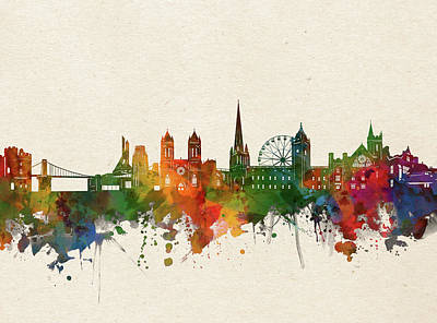 Abstract Skyline Royalty-Free and Rights-Managed Images - Bristol Skyline Watercolor by Bekim M