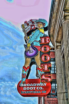 Photograph - Broadway Boot Company # 2 - Nashville by Allen Beatty
