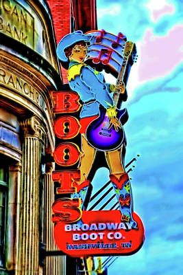 Photograph - Broadway Boot Company - Nashville by Allen Beatty