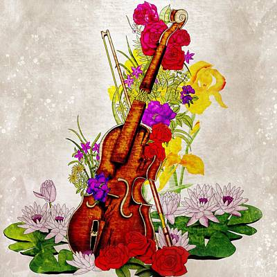 Music Paintings - Broken violin full of flowers - classical music by Patricia Piotrak