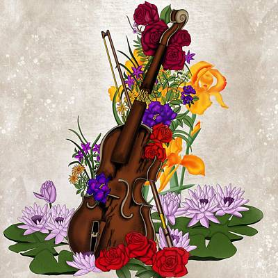 Painting - Broken Violin Surrounded By Flowers by Patricia Piotrak