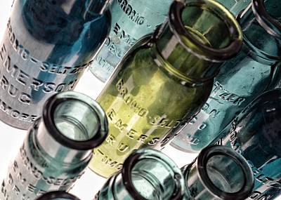 Photograph - Bromo Seltzer Vintage Glass Bottles Collection - Rare Green And Blue #5 by Marianna Mills