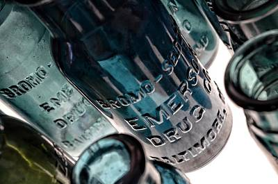 Photograph - Bromo Seltzer Vintage Glass Bottles Collection - Rare Green And Blue #6 by Marianna Mills