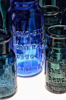 Photograph - Bromo Seltzer Vintage Glass Bottles Collection - Rare Toronto Bottle - Rare Green And Blue #7 by Marianna Mills