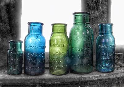 Photograph - Bromo Seltzer Vintage Glass Bottles Collection - Rare Green And Blue #8 by Marianna Mills