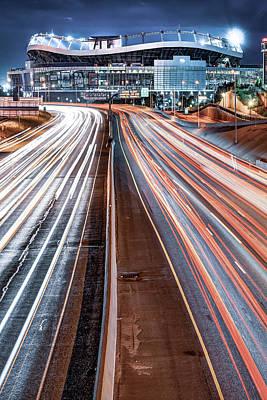 Photograph - Broncos Stadium At Mile High - Denver Colorado Cool Lights by Gregory Ballos