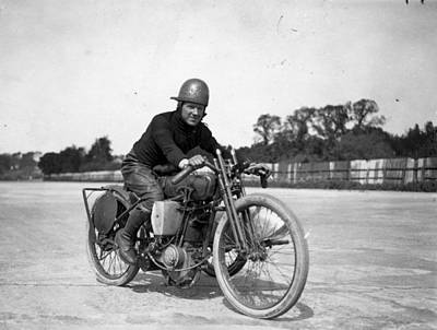 Photograph - Brooklands Biker by Topical Press Agency
