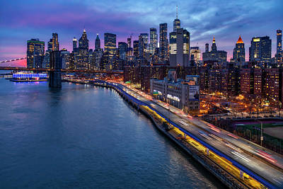 Photograph - Brooklyn Bridge And Lower Manhattan Skyline by Susan Candelario