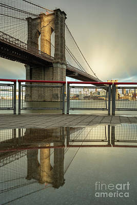 Photograph - Brooklyn Bridge At Sunset From East River Pier  by Andriy Stefanyshyn