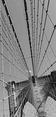 Fine Dining - Brooklyn Bridge B W Slant by Rob Hans