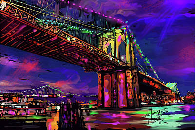 Painting - Brooklyn Bridge by DC Langer