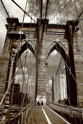 Photograph - Brooklyn Bridge - New York City 4 Sepia by Frank Romeo