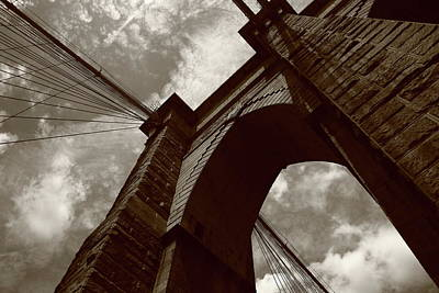 Photograph - Brooklyn Bridge - New York City 5 Sepia by Frank Romeo