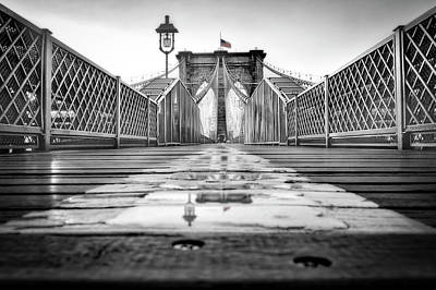Photograph - Brooklyn Bridge Nyc  Bw by Susan Candelario