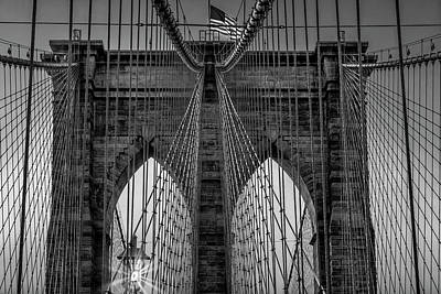 Photograph - Brooklyn Bridge Nyc Sunrise Bw by Susan Candelario