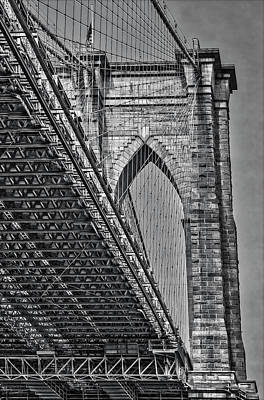 Photograph - Brooklyn Bridge Over And Under Bw by Susan Candelario