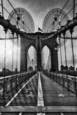 Photograph - Brooklyn Bridge Sunrise Nyc  Bw by Susan Candelario