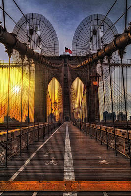 Photograph - Brooklyn Bridge Sunrise Nyc  by Susan Candelario