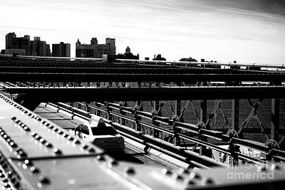 Photograph - Brooklyn Bridge Taxi In New York City by John Rizzuto