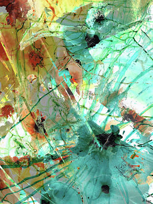 Painting - Brown And Teal Abstract Art - Give And Take - Sharon Cummings by Sharon Cummings