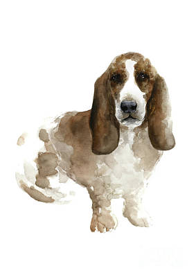 Painting - Brown Beige Basset Colorful Dog Poster Domestic Animal Panting by Joanna Szmerdt