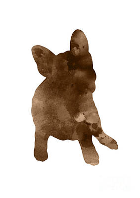 Painting - Brown Silhouette Of A Frenchie Sitting On The Right Hip by Joanna Szmerdt