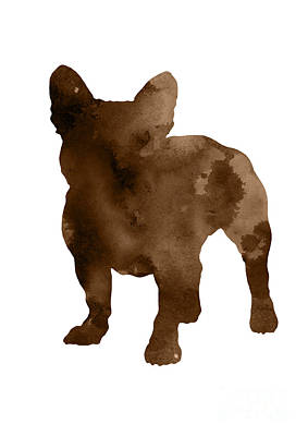 Painting - Brown Silhouette Of A Frenchie Standing Facing Left  by Joanna Szmerdt