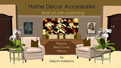 Digital Art - Brown Tan Abstract Wall Art By Delynn Addams For Home Decor by Delynn Addams